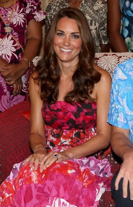 Kate Middleton in Batik Strapless Dress
