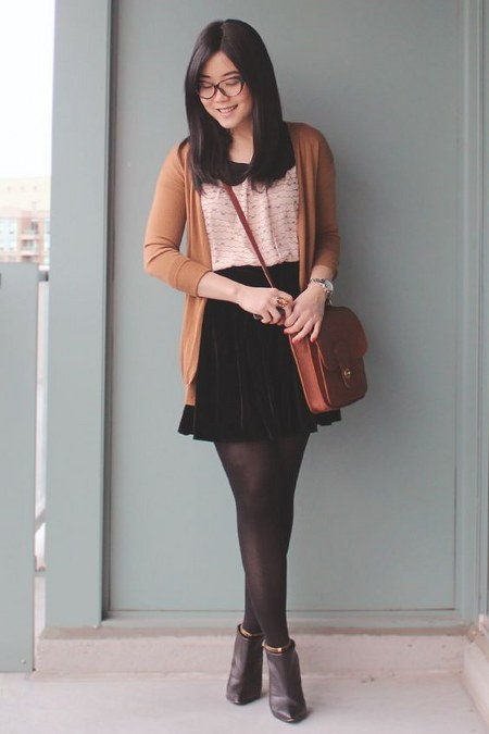 classic romantic style with black skirt