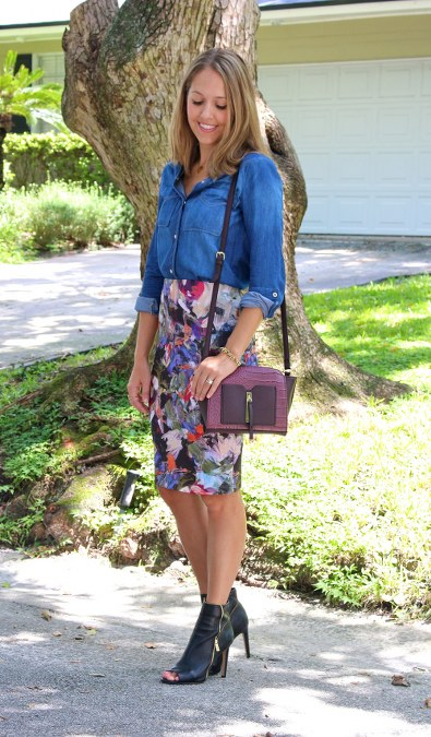 Chambray+top+with+floral+skirt