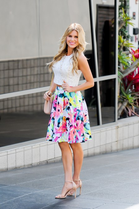 Crop Top and Floral Skirt