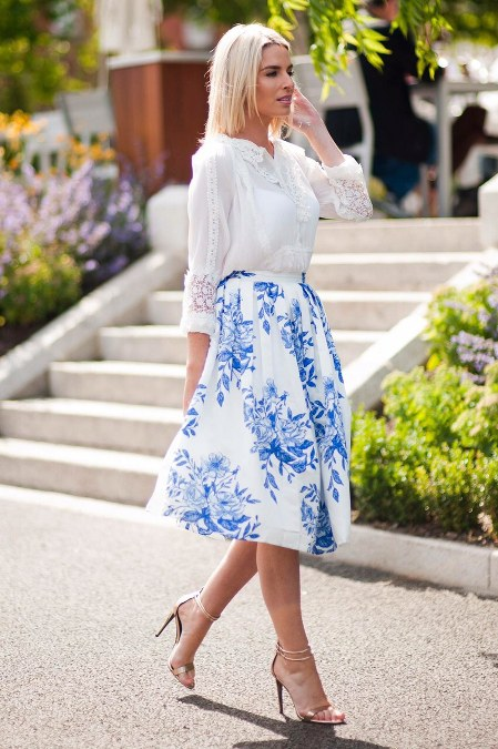 white top and midi floral skirt