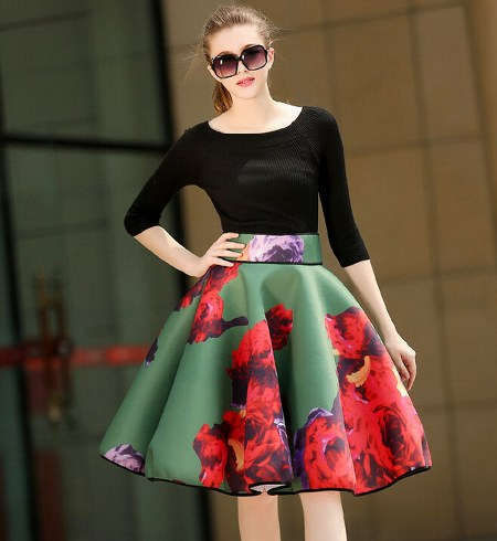 Long Sleeve Boat Neck Top With Ball Gown Floral Skirt