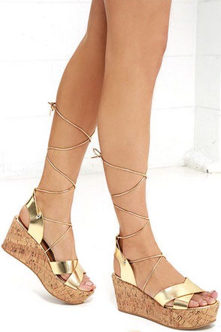 Lovely Luster Gold Lace-Up Platform Wedges