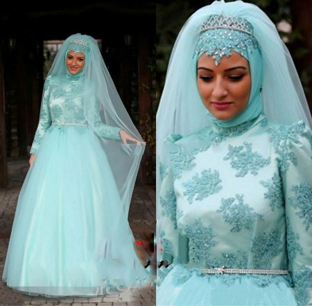 Muslim-Hijab-Long-Sleeve-Ball-Gown-Ice-Blue