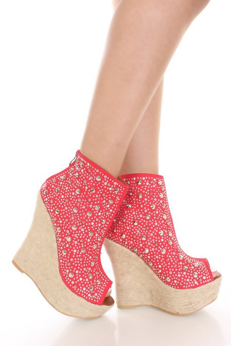 Red Rhinestone Spiked Espadrille Wedges