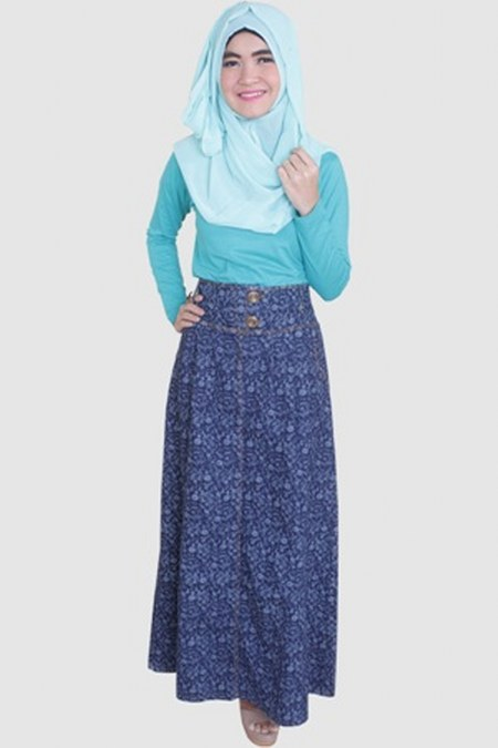 Rok-Muslimah-Jeans-Motif-Dubai-Biru-Dongker