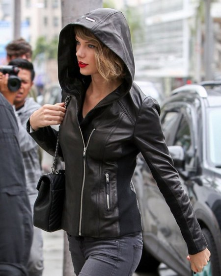 Taylor Swift  Black Leather Jacket