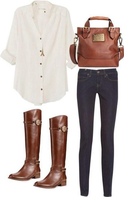 kemeja putih+skinny jeans+boots cokelat+hand bag senada