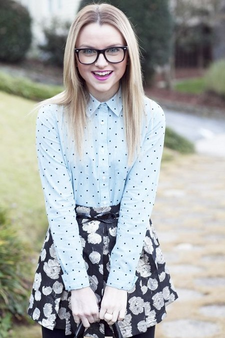 dotted-top-and-floral-skirt