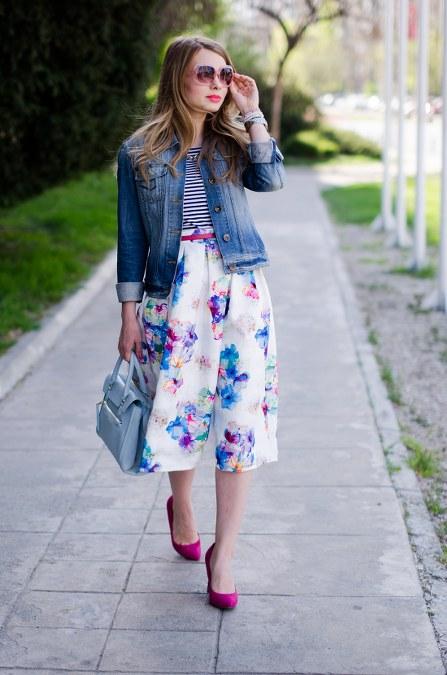 floral-midi-skirt-striped-tee-denim-jacket