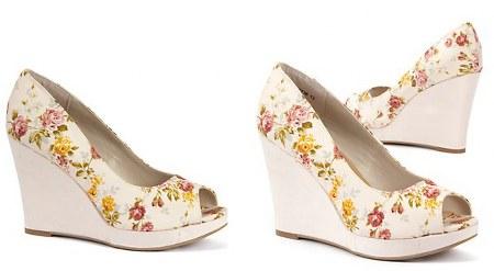 floral print platform wedge peep toes
