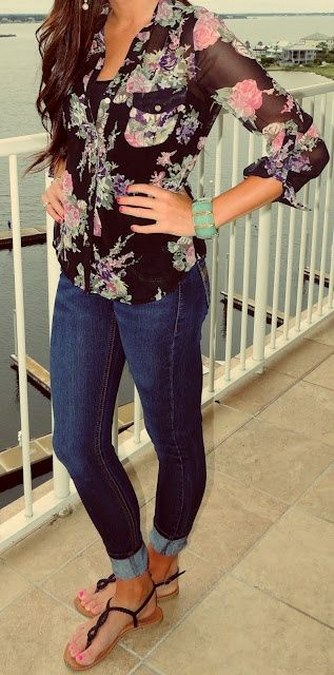 floral siffon shirt+jeans+flats