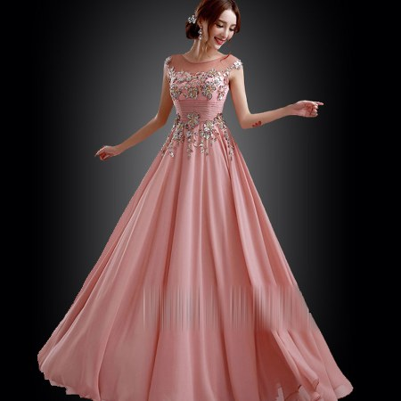 gaun-pesta-dress-panjang-pink-cantik