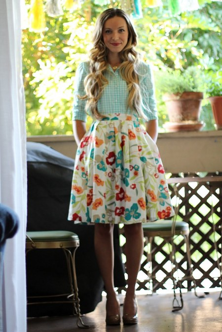gingham-top-and-floral-skirt