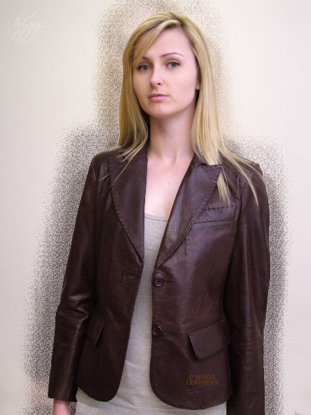 izzie womens brown leather blazer jackets
