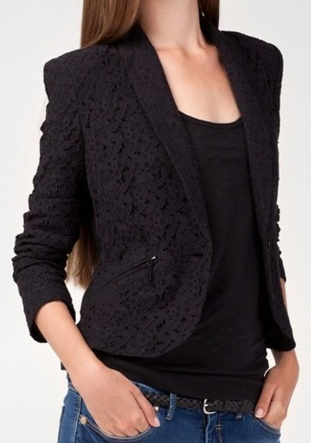 lace blazer black