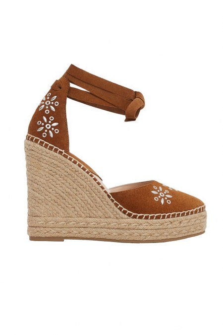 mango esparto leather wedges