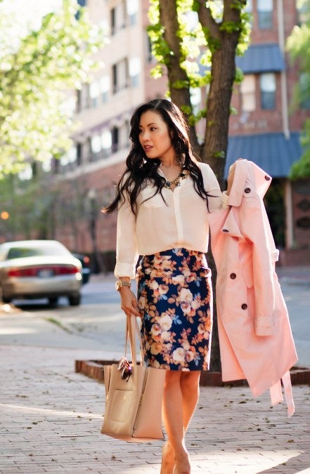 pink trench, white blouse and floral skirt
