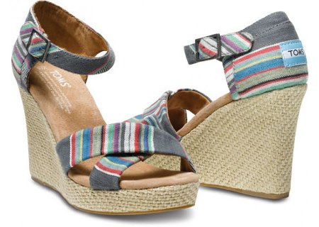 toms strappy wedge denim stripe