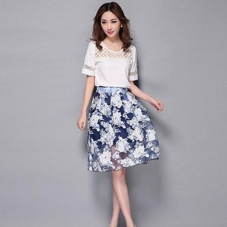 white top+ printed skirt