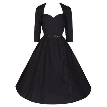 sweetheart-collar-belted-swing-cotton-little-black-dress