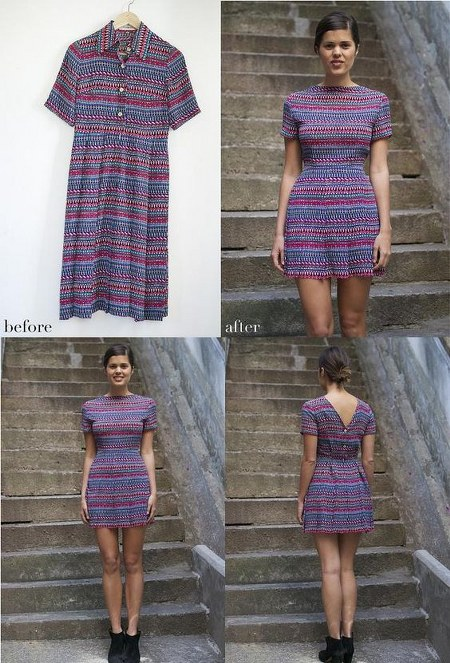 DIY refashion the button down dress to buttoned back dress