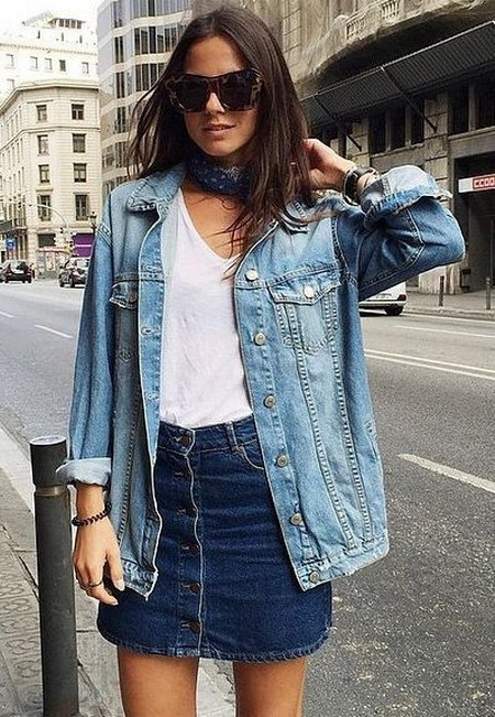 denim jacket with denim skirt