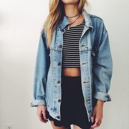 crop top with denim jacket