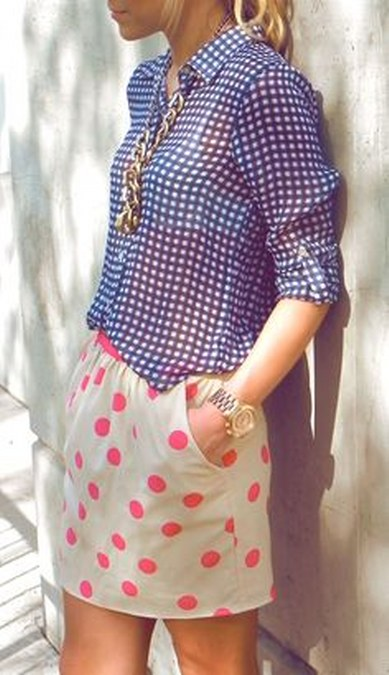 polkadots short and gingham top