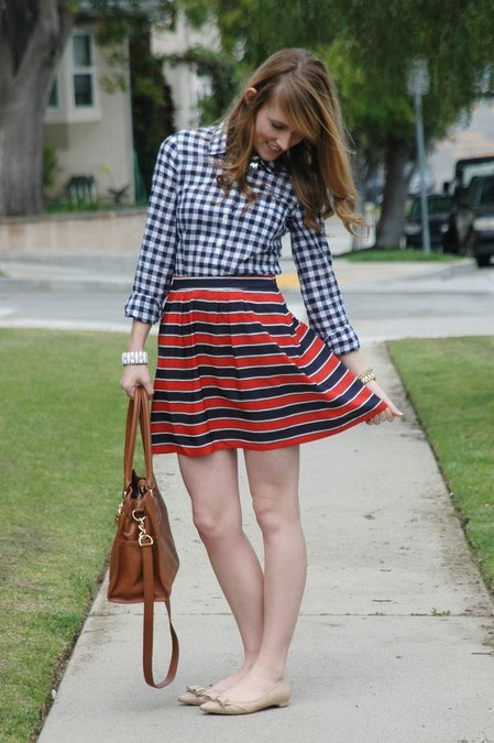 gingham top and stripes skirt
