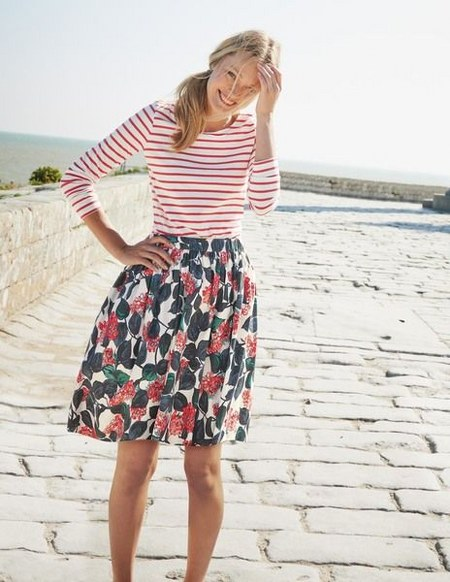 stripped-top-and-floral-skirt