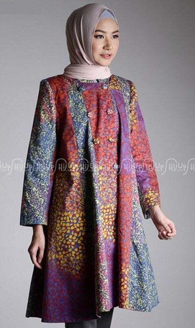 Baju-Muslim-Batik-2016-Model-Tunik-Umbrella-Katun-Dian-Pelangi