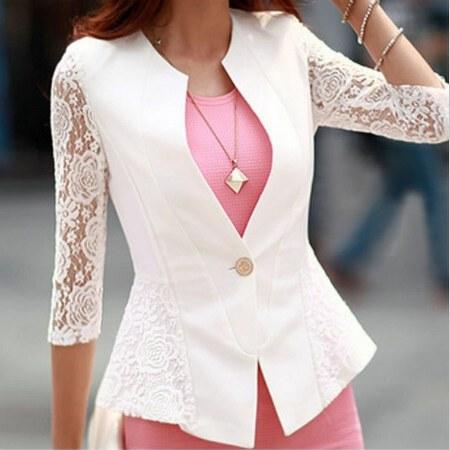 Autumn blazer white lace