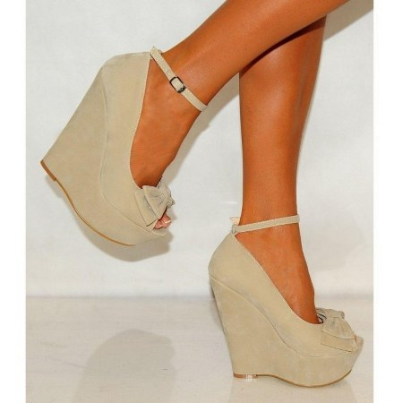 Koi Couture Ladies Beige Bow Wedges