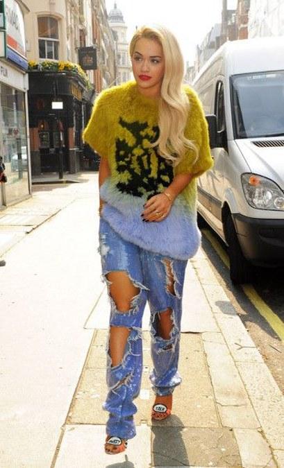 Rita Ora Ripped Jeans