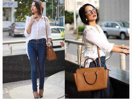 celana high waist jeans dengan kemeja putih