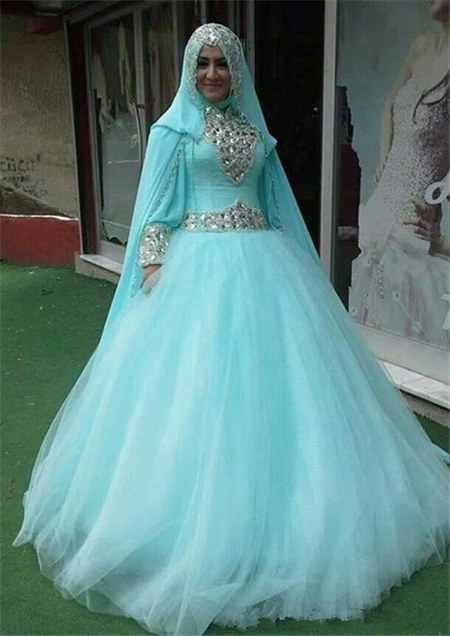 Sparkling Ball Gown Muslim Wedding Dresses 450x636
